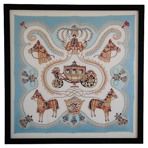 Framed Hermès Silk Carriage Scarf