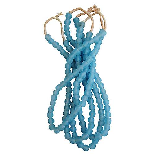 Nantucket Cape Cod Blue Glass Beads, S/4