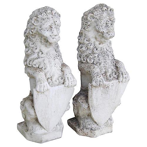 1950s Concrete Lion Garden Statues, Pair