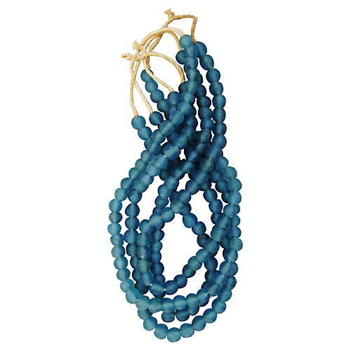 Steel Blue Glass Bead Strands, S/4