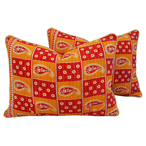 Boho-Chic Kantha Textile Pillows, Pair