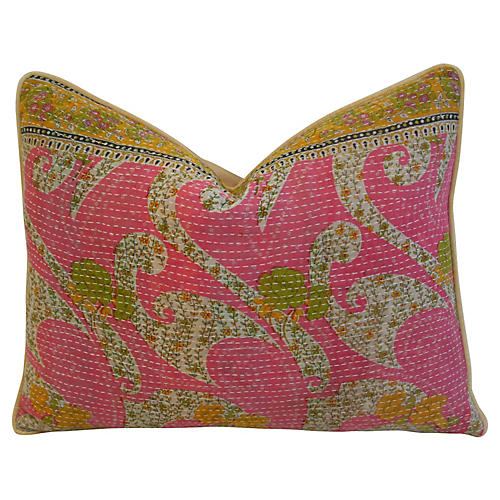 Boho-Chic Kantha Textile Pillow