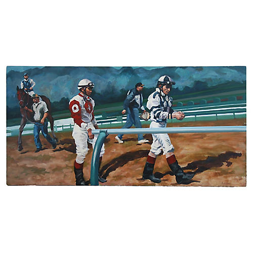 Race Track, Horse & Jockeys Oil Painting