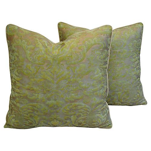 Italian Fortuny Corone Pillows, Pair
