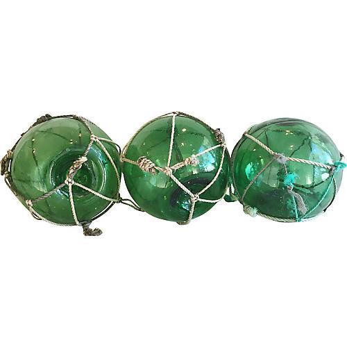 Nautical Green Glass Fishing Floats, S/3