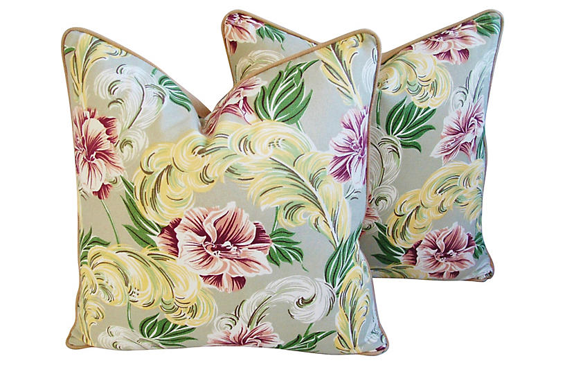 Tropical Floral Barkcloth Pillows, Pair