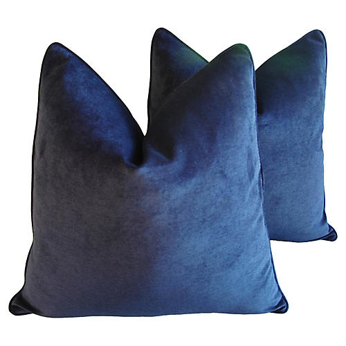 Midnight Deep Blue Velvet Pillows, Pair