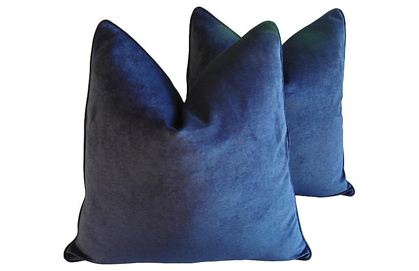 Midnight Deep Blue Velvet Pillows, Pair