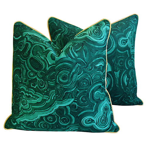 Jim Thompson Malachite Green Pillows, Pr