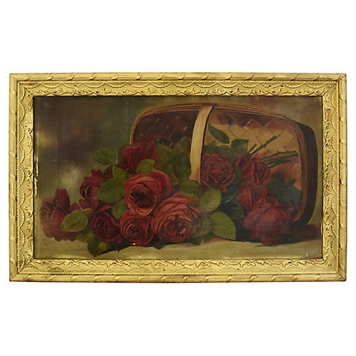19th-C. Red Roses Oil Painting