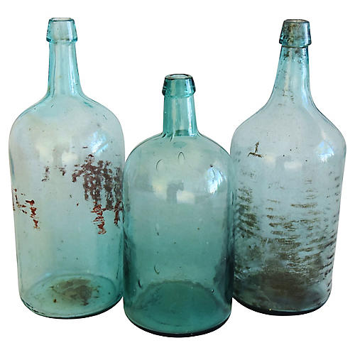 Tall French Demijohn Wine Bottles, S/3