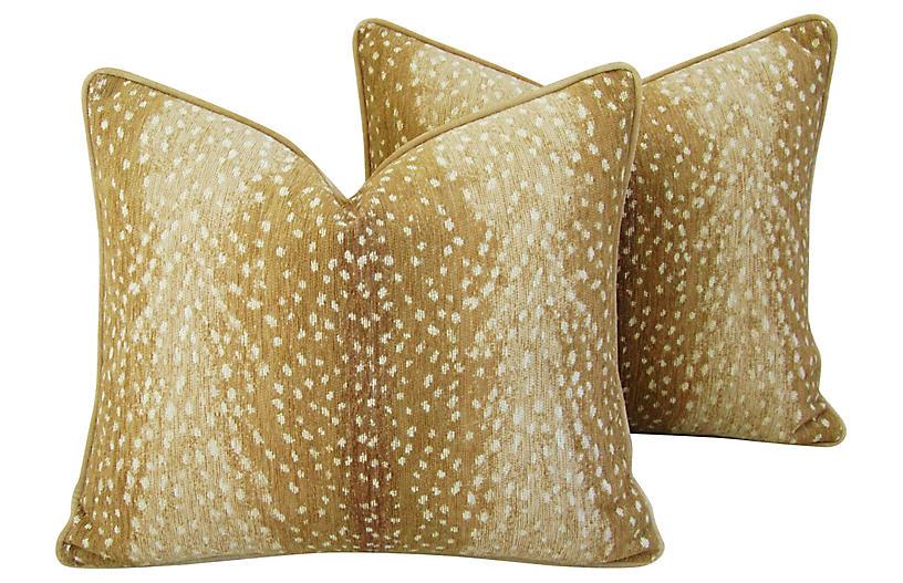 Antelope Deer Fawn Velvet Pillows, Pair