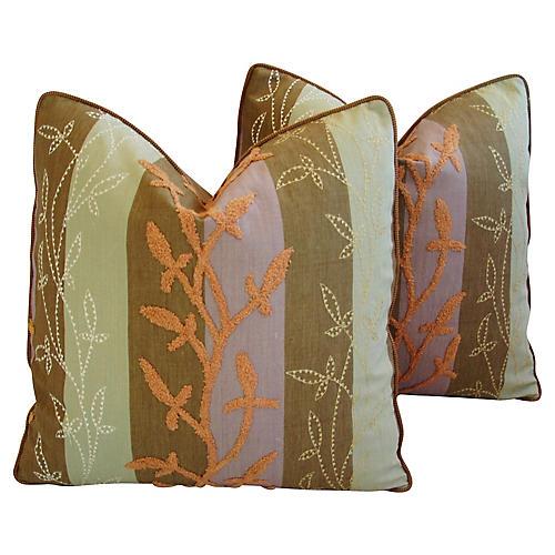 Pollack Floral & Velvet Pillows, Pr