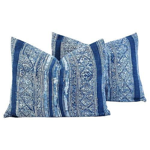 Indigo Blue & White Batik Pillows, Pair