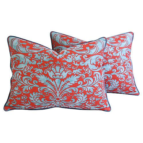 Italian Fortuny Caravaggio Pillows, Pair