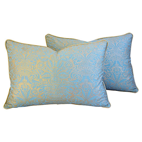 Italian Fortuny Campanelle Pillows, Pair