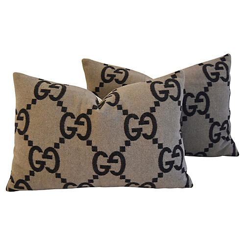 Gucci Cashmere & Velvet Pillows, Pair