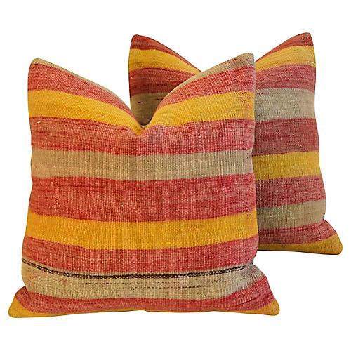 Anatolian Turkish Kilim Wool Pillows, Pr