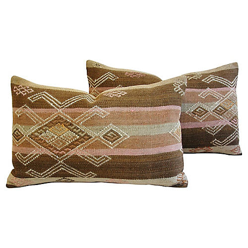Turkish Textile Wool Lumbar Pillows, Pr