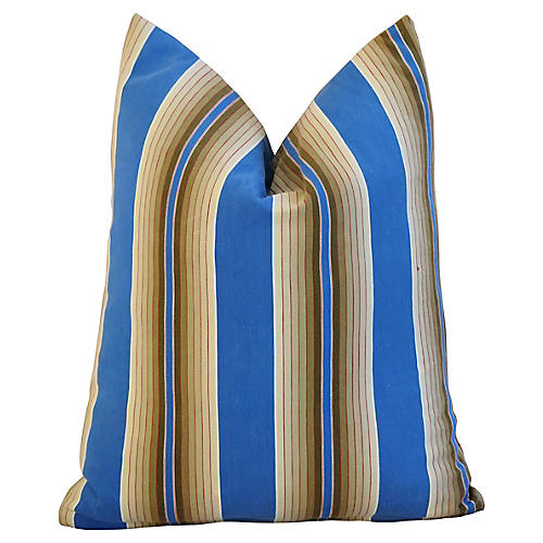 Blue & Tan French Ticking Striped Pillow