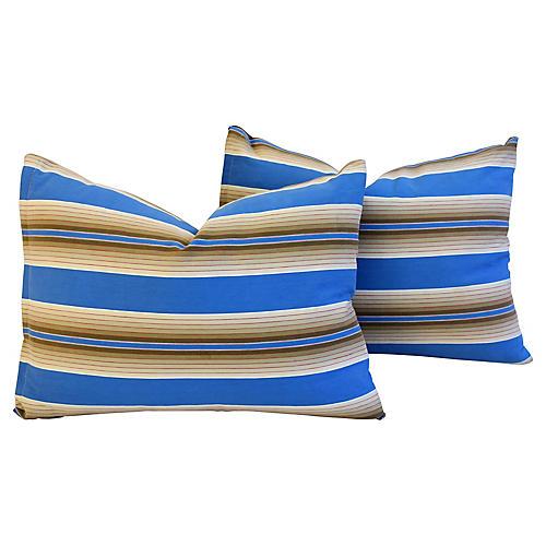 Blue & Tan French Ticking Pillows, Pair