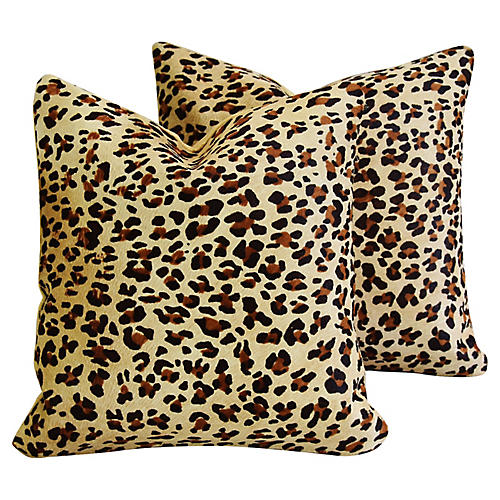 Leopard Spot Cowhide/Velvet Pillows, Pr
