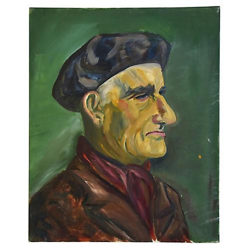 Midcentury Gentleman w/ Beret Portrait