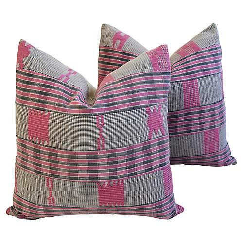 Boho-Chic Mali Woven Tribal Pillows, Pr