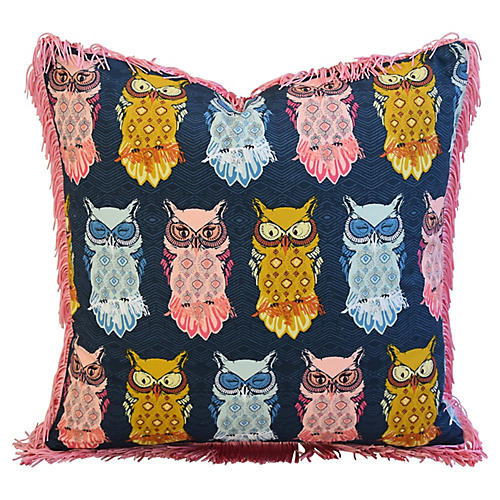 Colorful Hooting Owls Pillow w/ Fringe