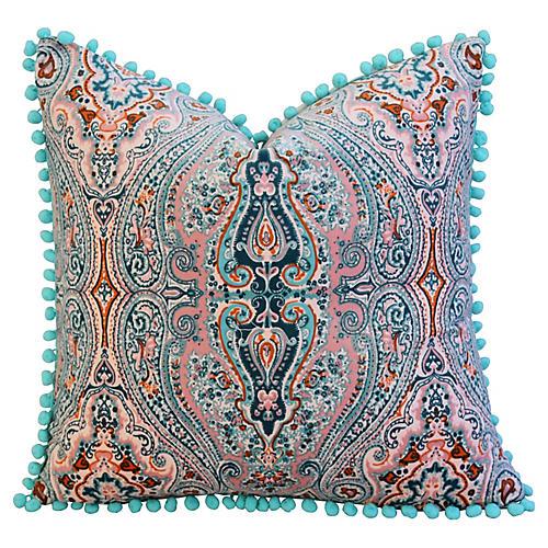 Pink/Aqua Paisley Velvet Pom-Pom Pillow