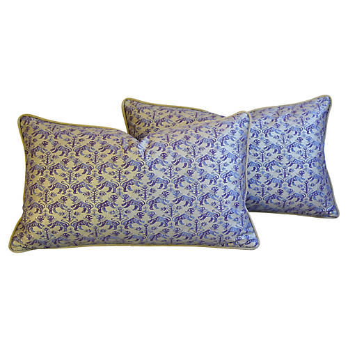 Italian Fortuny Richelieu Pillows, Pair