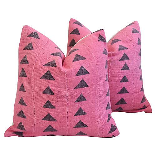 Pink & Gray Mud Cloth/Velvet Pillows, Pr
