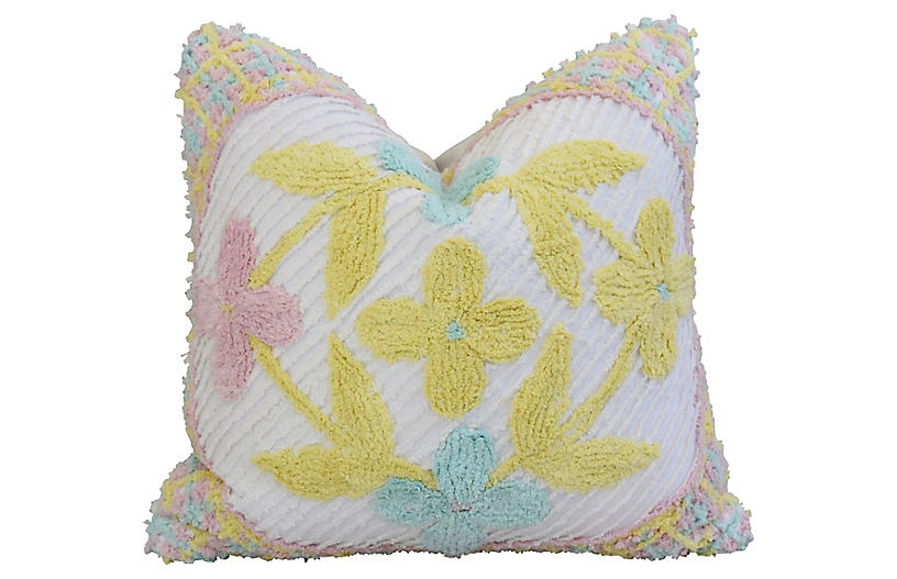 Floral Pastel Tufted Chenille Pillow