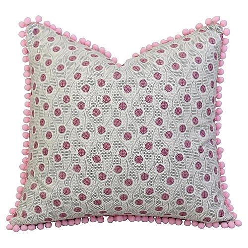 Pink Medallion Pillow w/ Pom-Pom Trim
