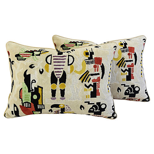 Clarence House Velvet Pillows, Pair