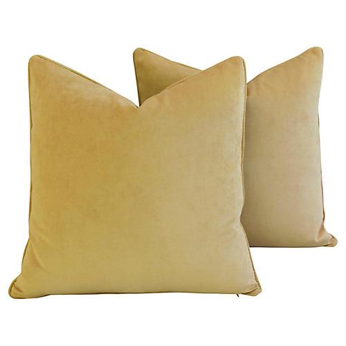 Golden Velvet Pillows, Pair