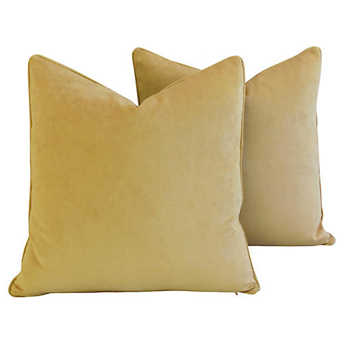 Golden Velvet Pillows, Pair