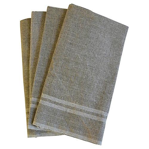 French White Stripe Linen Napkins, S/4