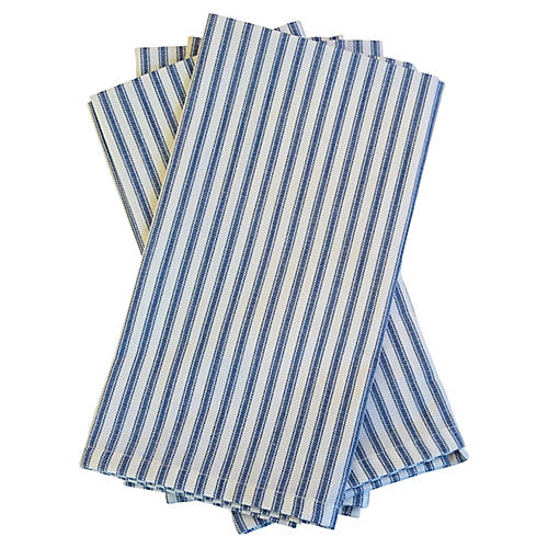 Blue & White French Ticking Napkins, S/4
