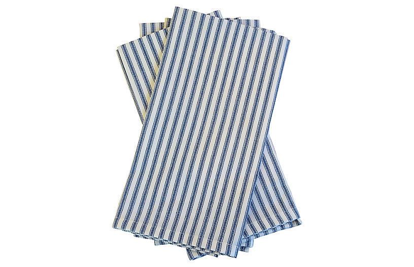 Blue & White French Ticking Napkins, S/4