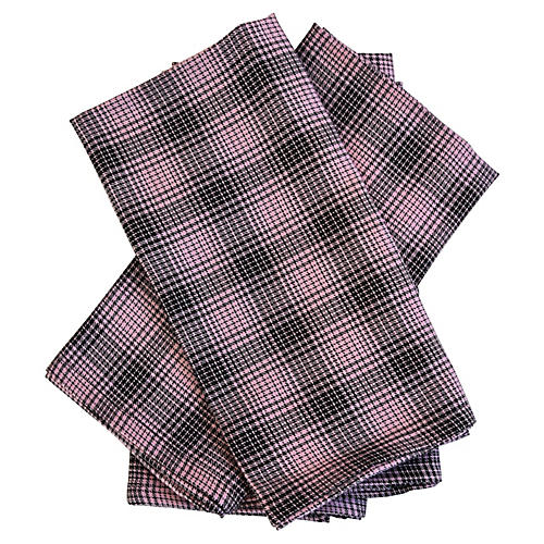 Pink & Black Plaid Dinner Napkins, S/4