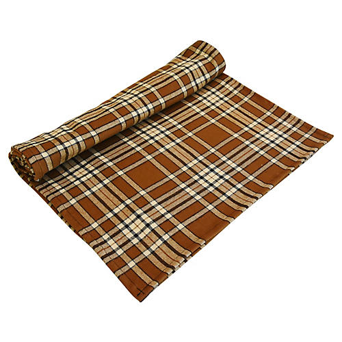 "109"" Brown Tan Tartan Plaid Table Runner"