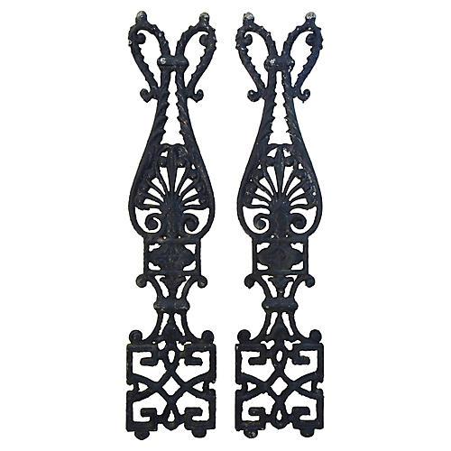 Antique Architectural Iron Details, Pair