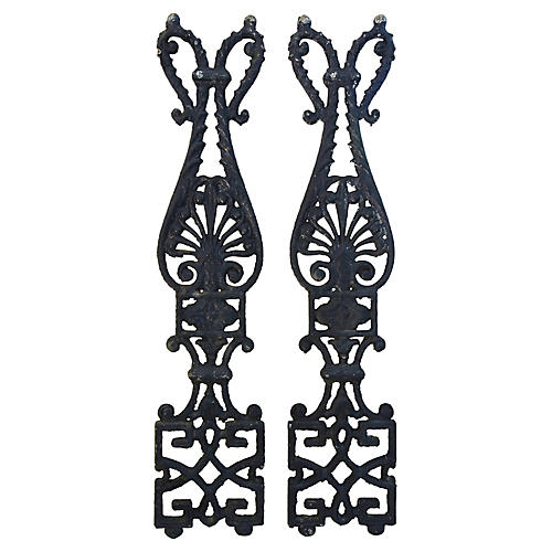 Antique Architectural Iron Details, Pair