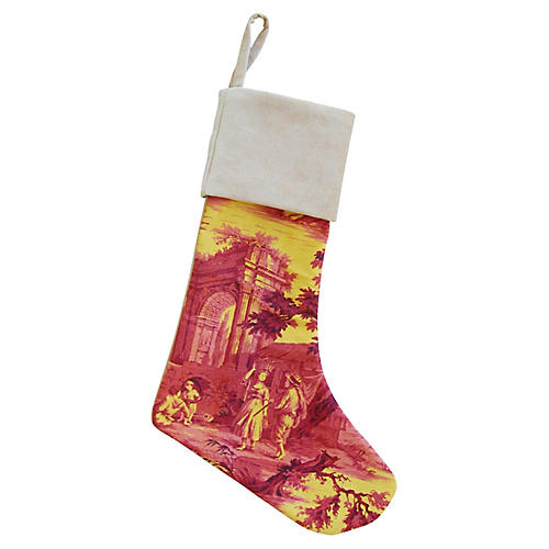 French Toile & Velvet Christmas Stocking
