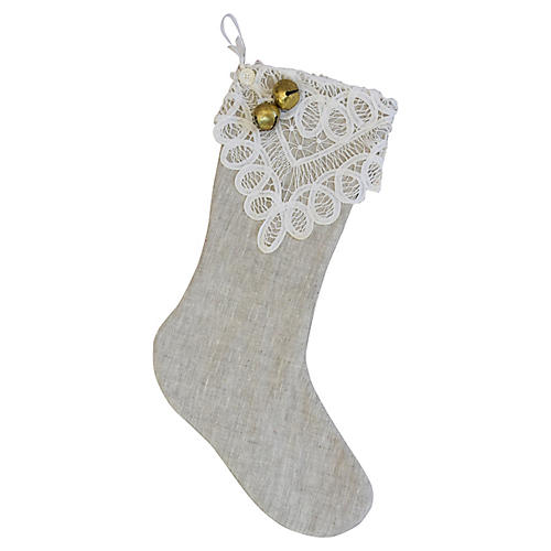 Belgian Linen & Lace Christmas Stocking