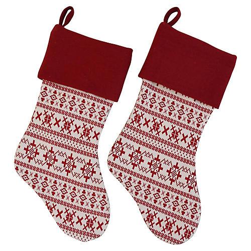 Snowflake Christmas Stockings, Pair
