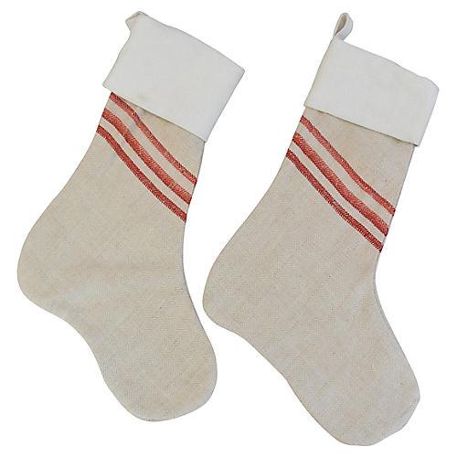 Grain Sack Christmas Stockings, Pair