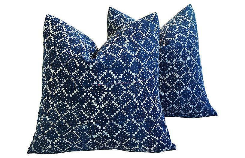 Indigo Blue/White Mali Tribal Pillow, Pr