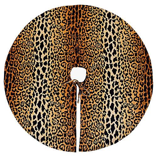 """55"""" Leopard Velvet Christmas Tree Skirt"""